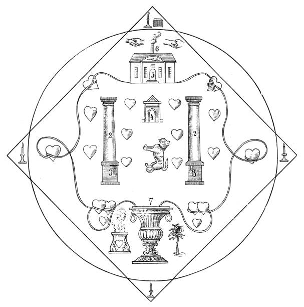 symbols of freemasons order of pug, mops orden - freemasons stock illustrations