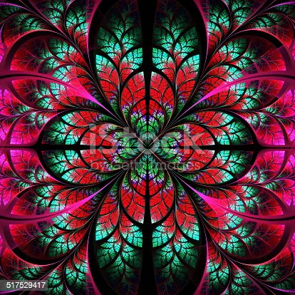 Symmetrical fractal pattern. Collection - tree foliage. Green and red palette.
