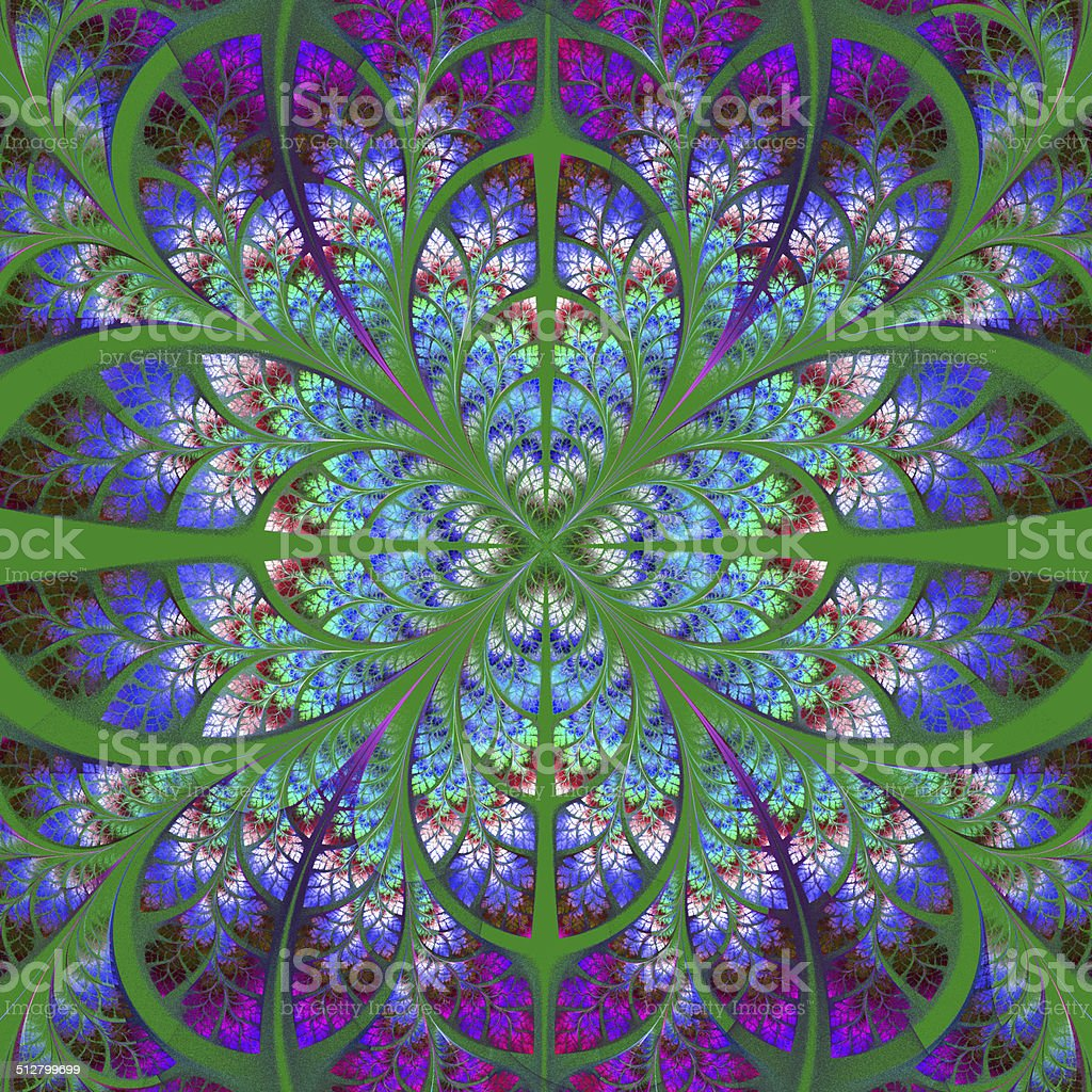 fractal symétrique motif collection arbre de végétation vert bleu et