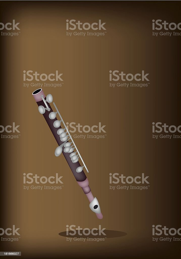 Symphonic Piccolo on Dark Brown Background royalty-free stock vector art
