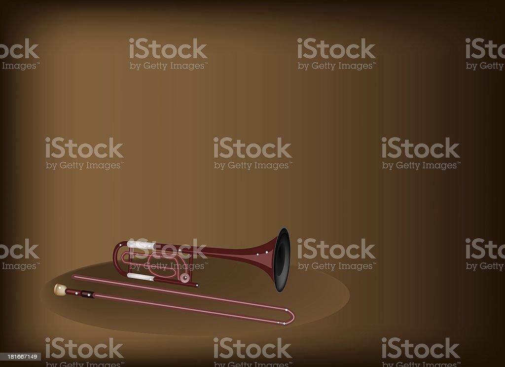 Symphonic Trombone on Dark Brown Background royalty-free stock vector art