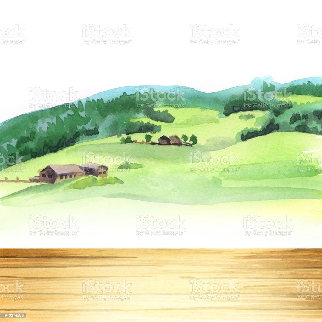 Ilustración de Tabla En Un Paisaje Campos Fondo Y Plantilla Acuarela ...