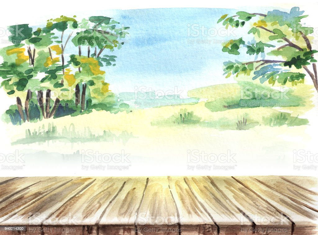 table in a landscape picnic hand drawn watercolor template and