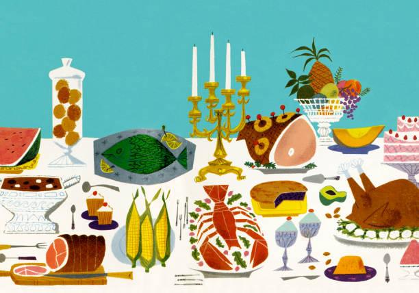 ilustrações de stock, clip art, desenhos animados e ícones de table with platters of food - muita comida