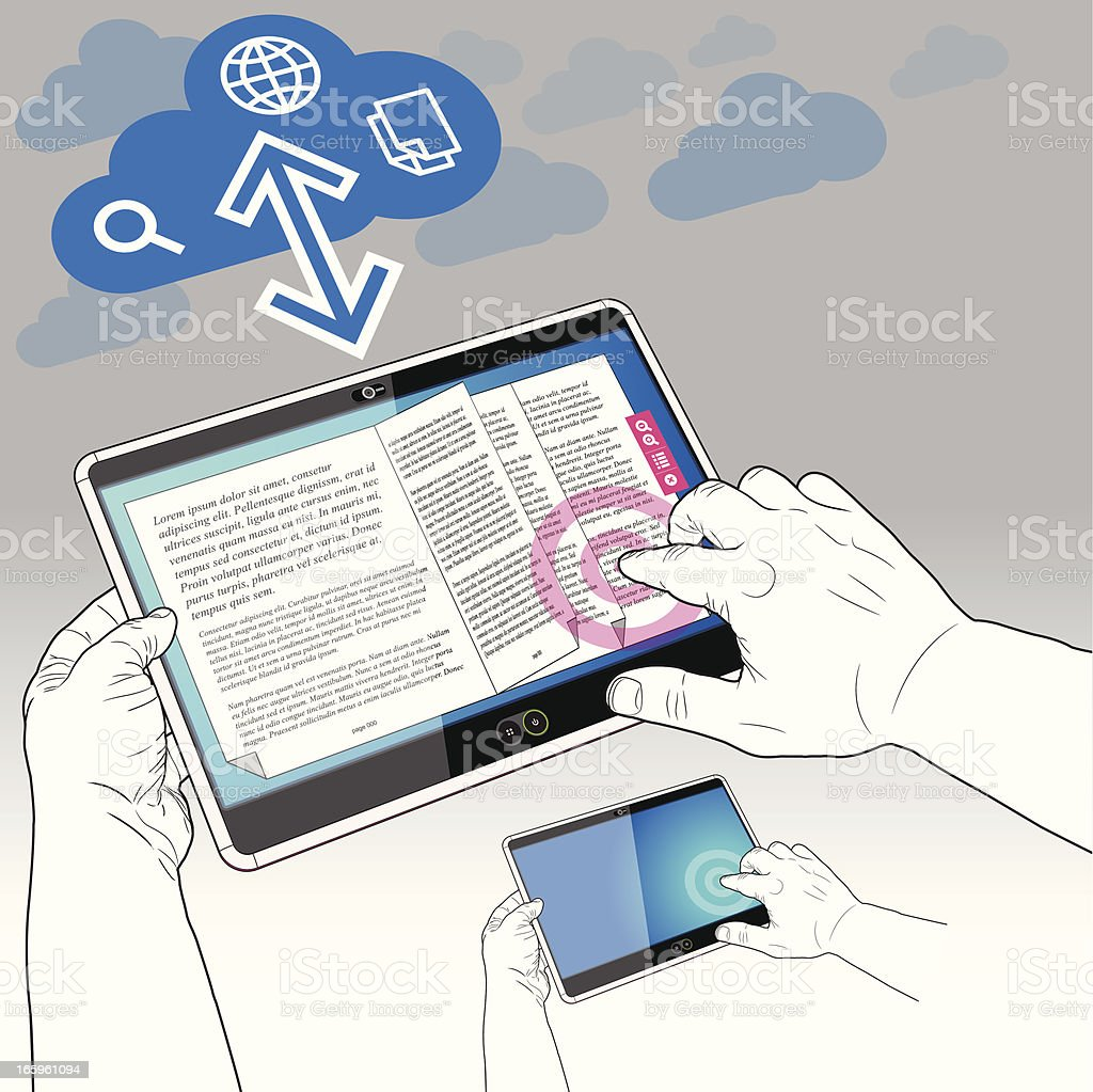 Tablet PC, eBook and the Data Cloud royalty-free stock vector art