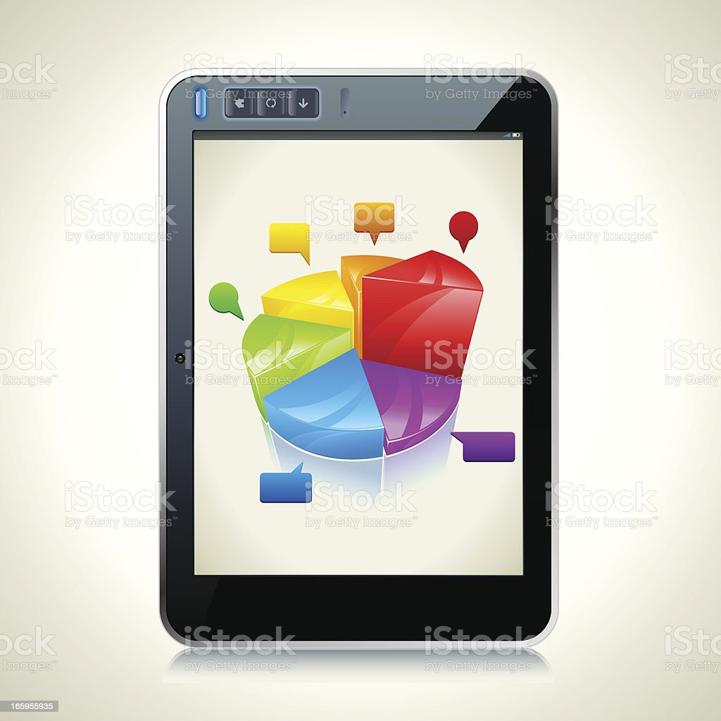 Tablet PC with diagram royalty-free stock vector art