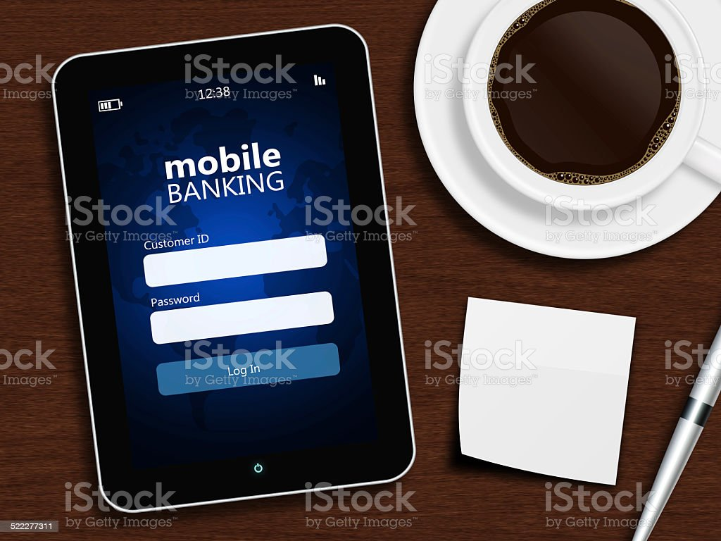 Tablet With Mobile Banking Login Page And Office Accessories Royalty Free  Stock Vector Art