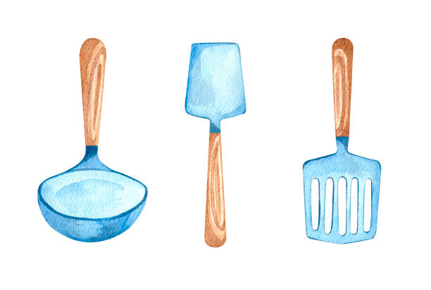 Tableware watercolor vector art illustration