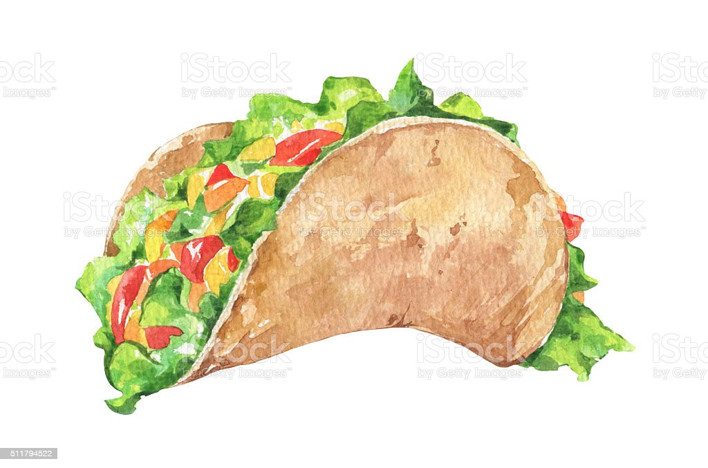 Tacos with vegetables. Mexican traditional fast food vector art illustration