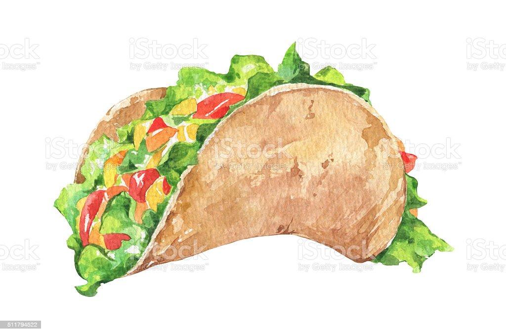 Tacos con verduras. Mexicano rápido tradicional comida - ilustración de arte vectorial