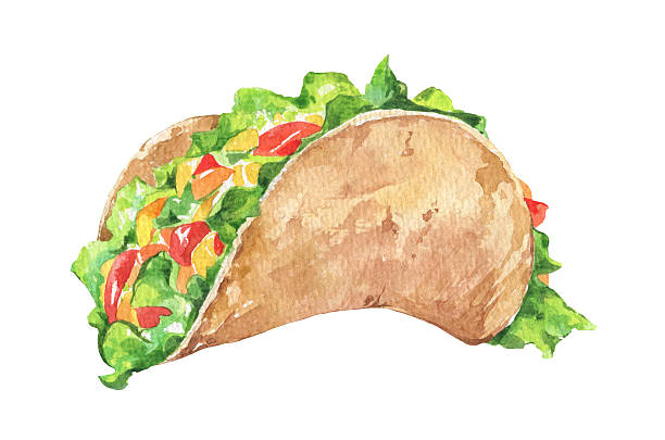 tacos with vegetables. mexican traditional fast food - taco stock illustrations, clip art, cartoons, & icons