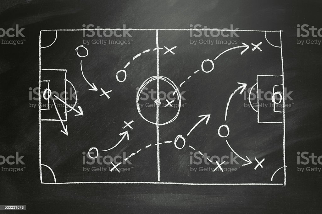 tactics on a painted soccer field vector art illustration