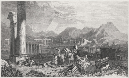 Tadmor in the desert (Palmyra), steel engraving, published in 1836