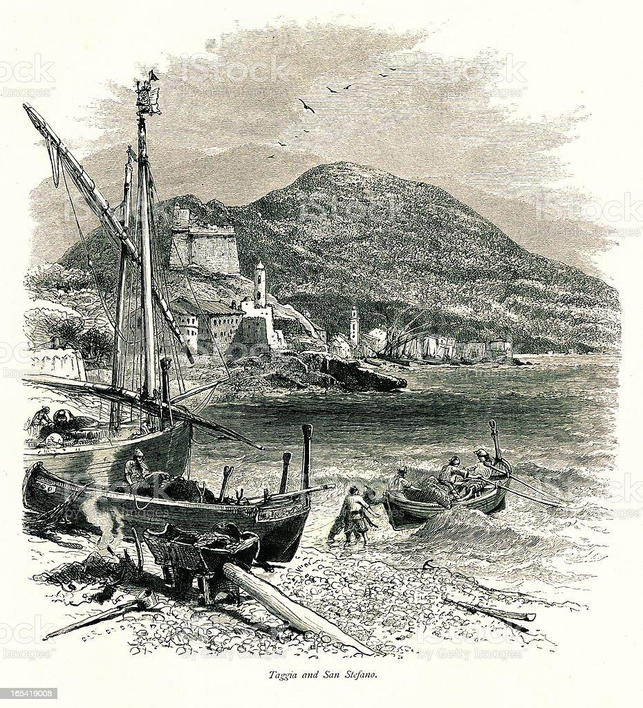 Taggia and Santo Stefano al Mare, Italy vector art illustration