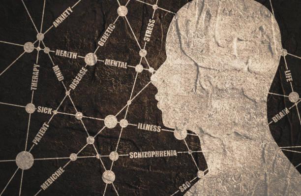 stockillustraties, clipart, cartoons en iconen met tags wolk. schizofrenie relatieve brochure - paranoïde