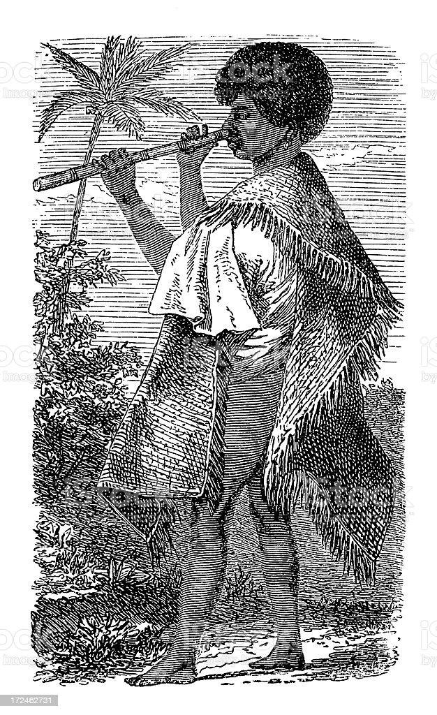 Tahitian man (antique wood engraving) royalty-free tahitian man stock vector art & more images of 19th century