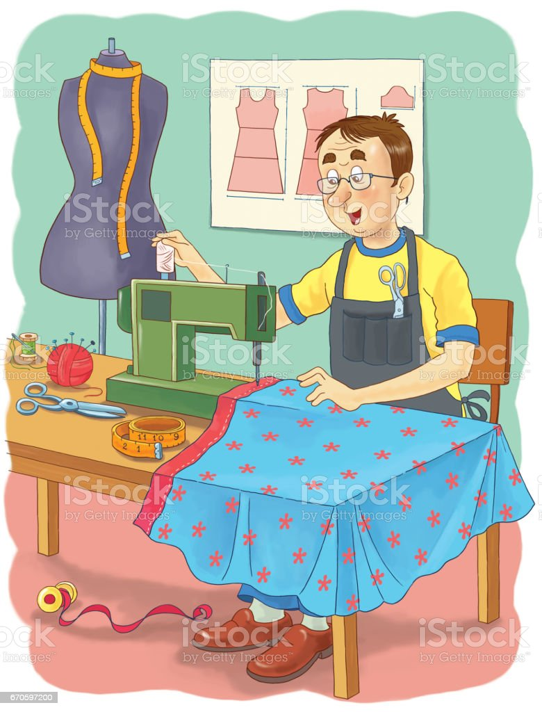 A Tailor Professions Illustration For Children Coloring Page Funny ...