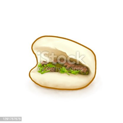 istock Taiwanese traditional steamed bun with braised  pork and vegetable (Gua bao), Taiwan food 1291757575