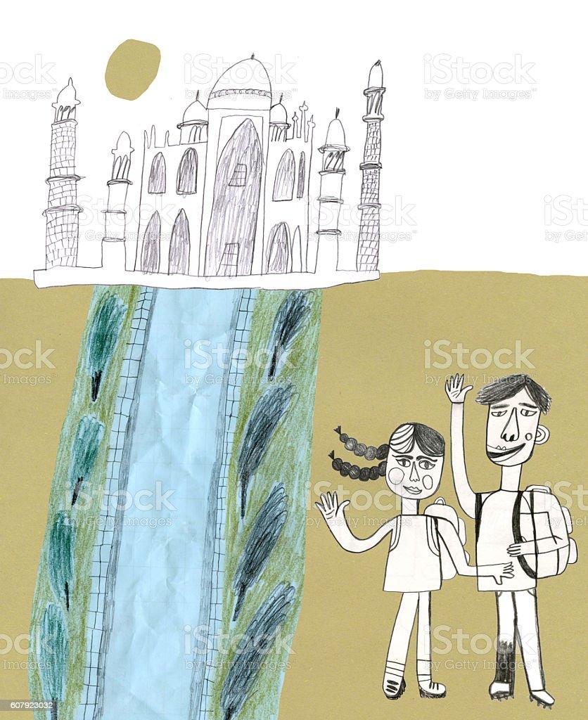 Taj Mahal and tourists collage - Illustration vectorielle