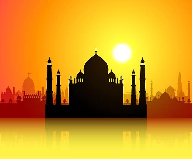 Taj Mahal Taj Mahal with famous Indian monuments behind. agra jama masjid mosque stock illustrations