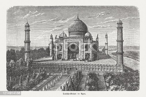 istock Taj Mahal in Agra, India, wood engraving, published in 1893 1214914158