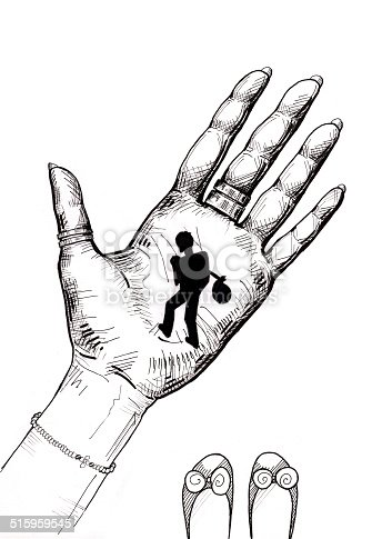 Little man walking on a girl's hand. Holding a bundle on his back. Hand drawn illustration. Isolated on white