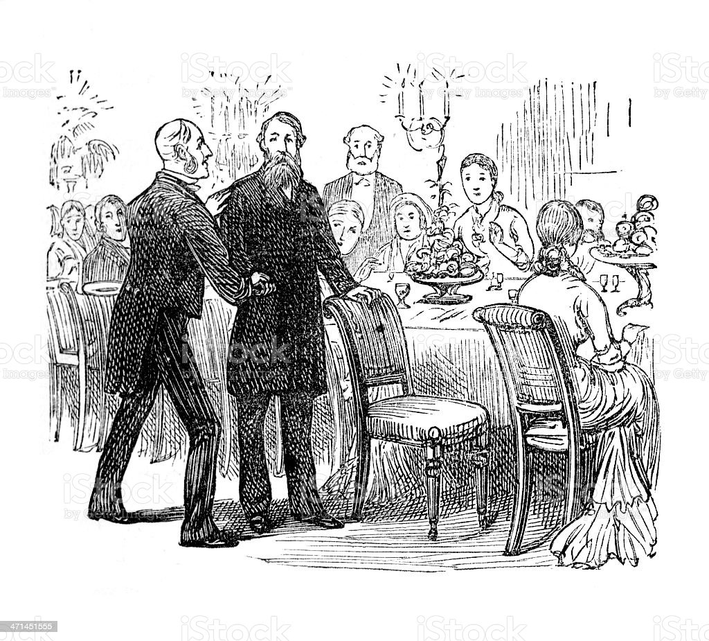 Taking his place at dining table from 1880 journal royalty-free taking his place at dining table from 1880 journal stock vector art & more images of 19th century style