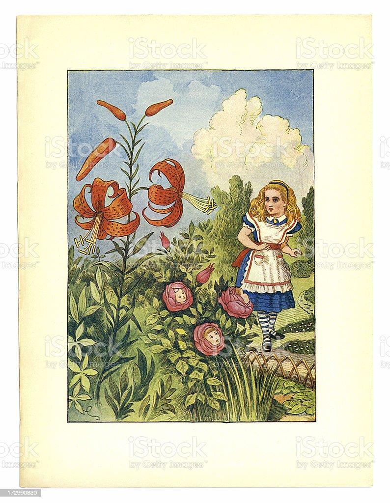 Talking flowers illustration, (Alice's Adventures in Wonderland) royalty-free stock vector art