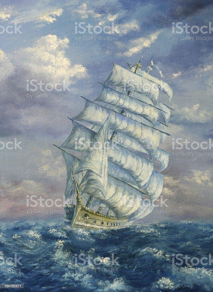 Tall Sailing Ship royalty-free stock vector art