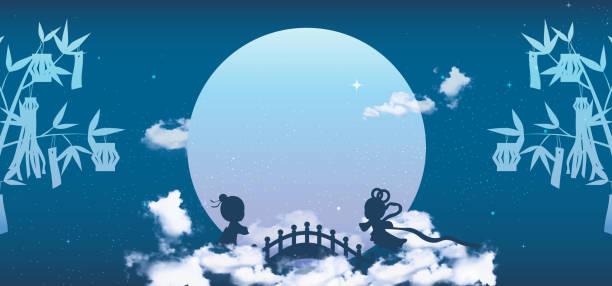 七夕や qixi 祭バナーの背景、祝う、牽牛の年次総会とジョウズニ オ買イ モノ、それは 7 月の 7 日目にあたります。 - 七夕点のイラスト素材/クリップアート素材/マンガ素材/アイコン素材