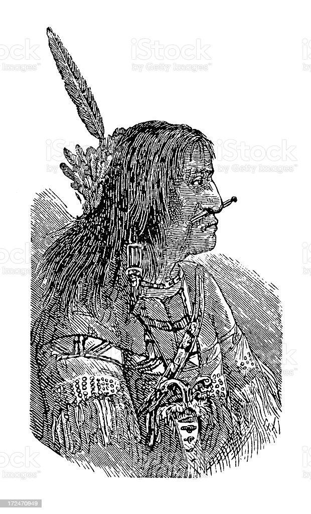 Tanana Man (antique wood engraving) royalty-free stock vector art