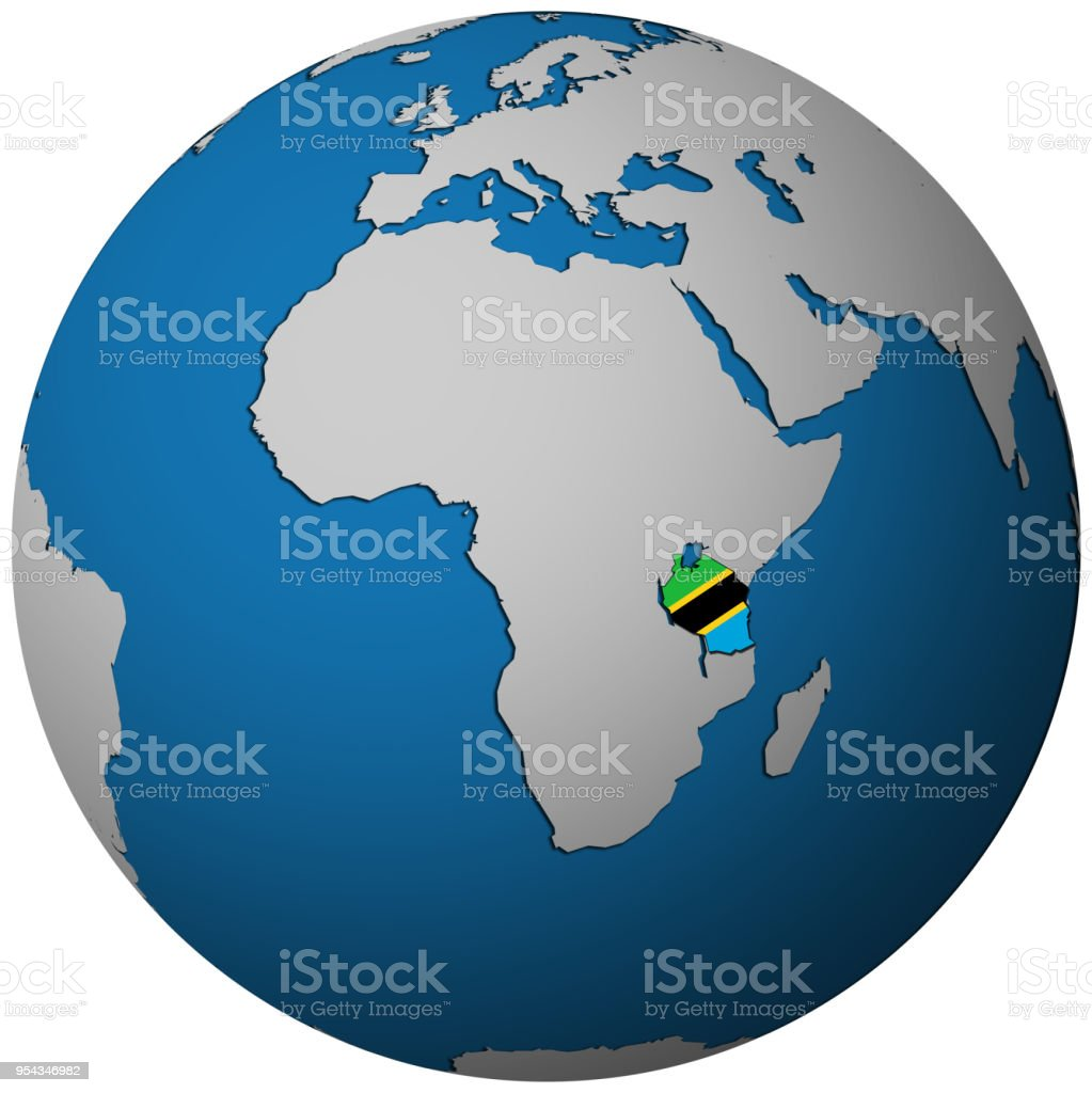 Tanzania Territory With Flag On Map Of Globe Stock Vector Art More
