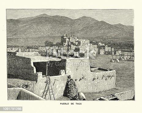 Vintage engraving of Taos Pueblo  (or Pueblo de Taos) is an ancient pueblo belonging to a Taos-speaking (Tiwa) Native American tribe of Puebloan people. The Graphic, 1884