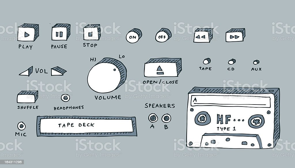 Tape and CD player royalty-free stock vector art