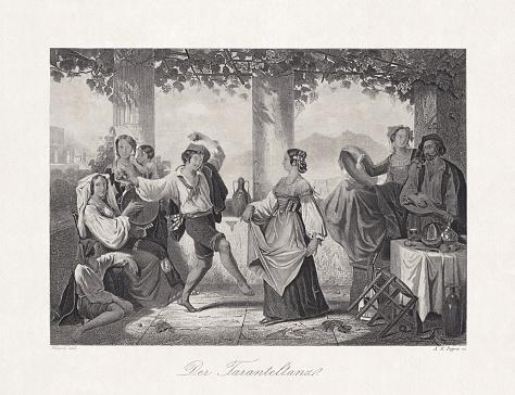 Tarantella, Italian folk dance in the past, steel engraving, 1868