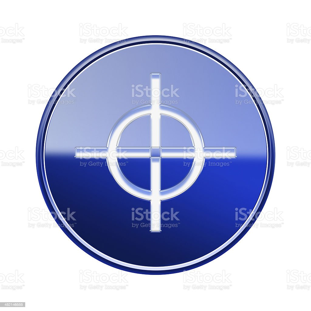 target icon glossy blue, isolated on white background. royalty-free stock vector art