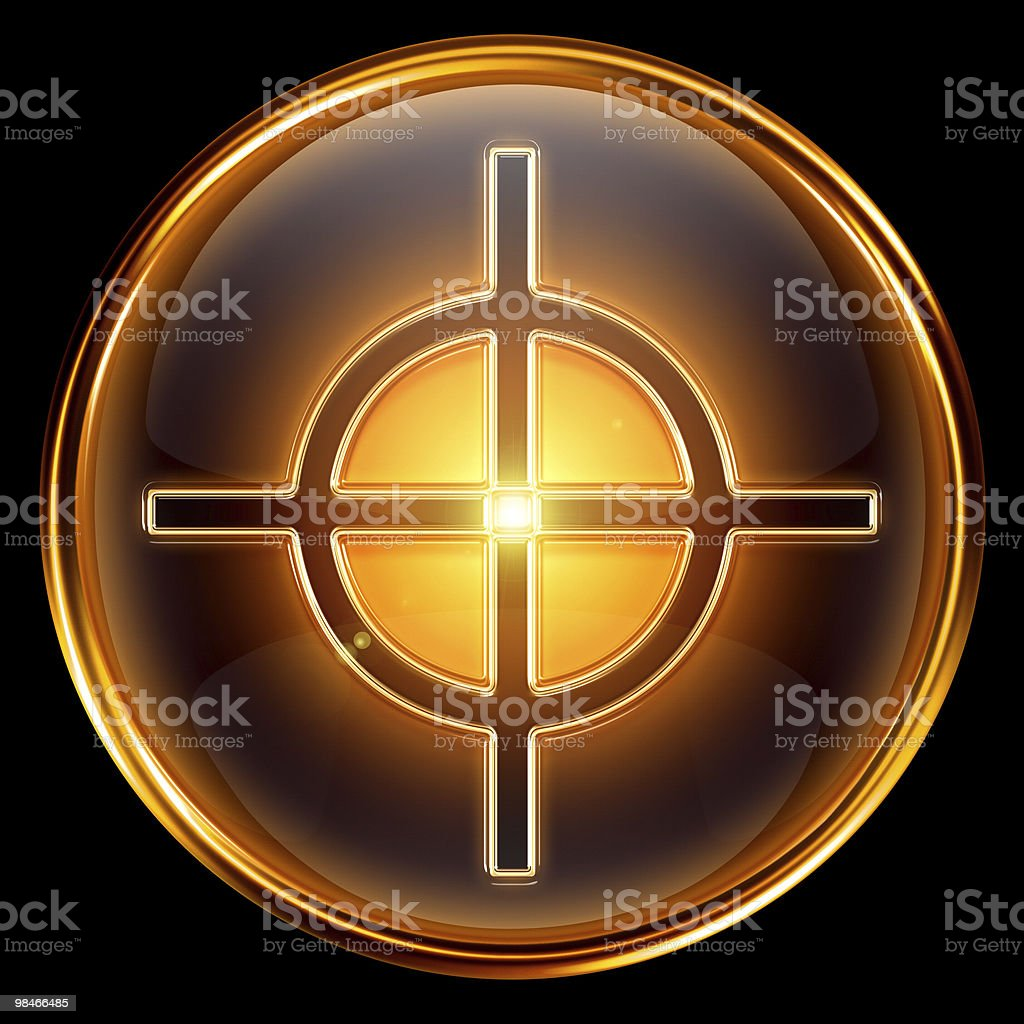 target icon golden, isolated on black background. royalty-free target icon golden isolated on black background stock vector art & more images of aiming
