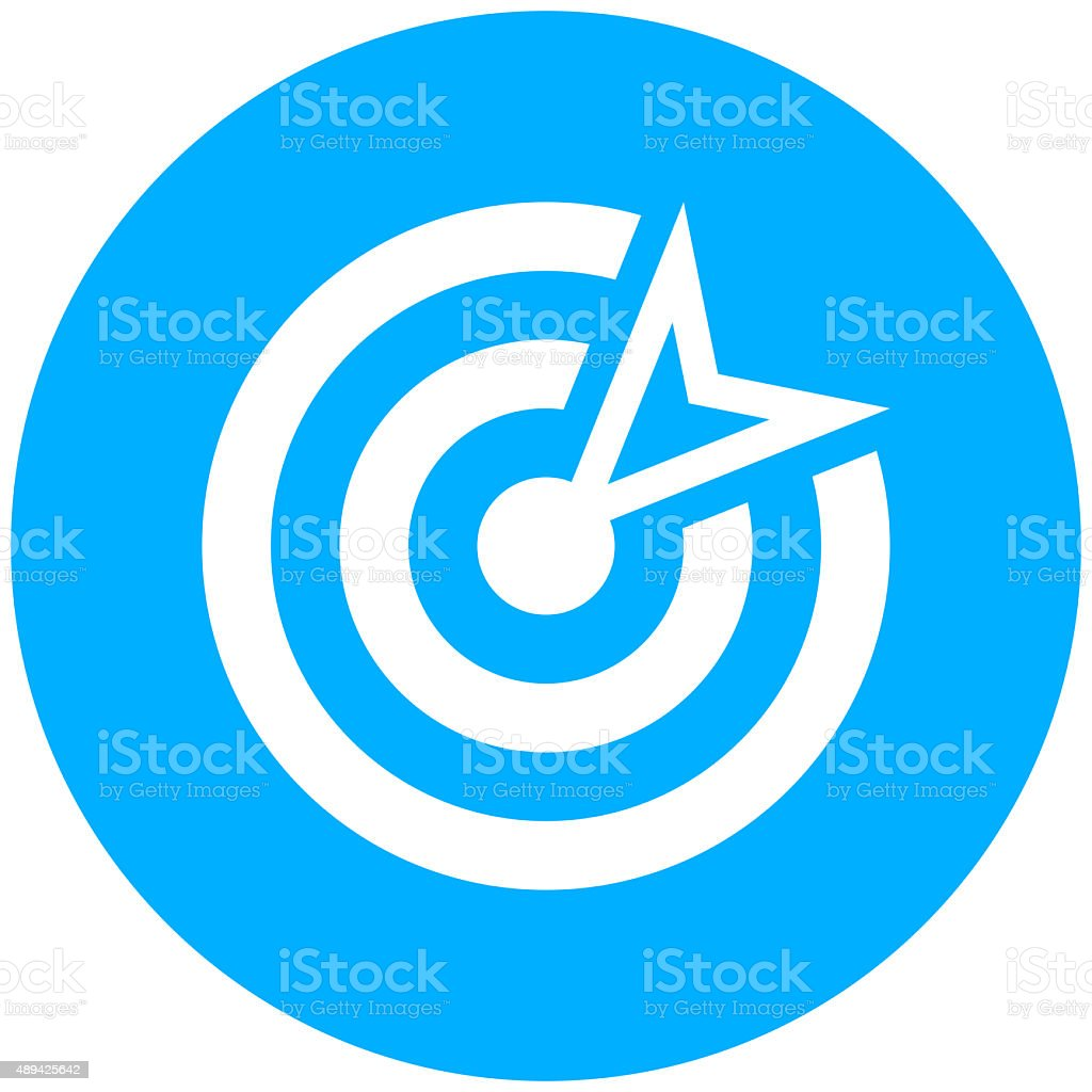 Target icon on a round button. vector art illustration