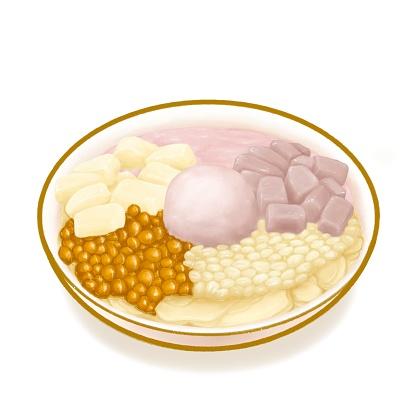 Taro ball snowflake ice, Taiwanese traditional ice cream and brown sugar soybean dessert