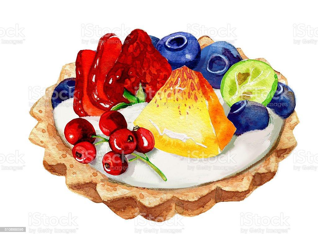 小さなタルト ブルーベリーいちごミントの葉に隔てられたホワイト イチゴのベクターアート素材や画像を多数ご用意 Istock