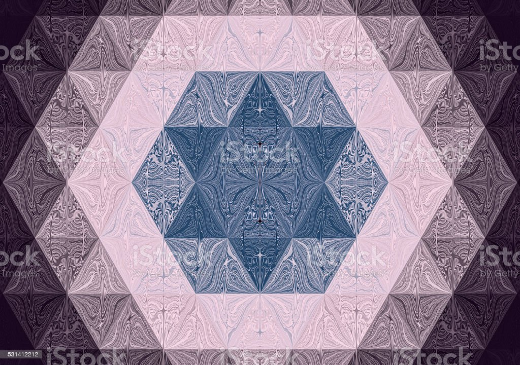 Hexagram six-pointed star of David in fractal image vector art illustration