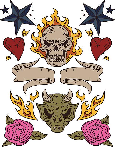 タトゥーの要素 - 星のタトゥー点のイラスト素材/クリップアート素材/マンガ素材/アイコン素材
