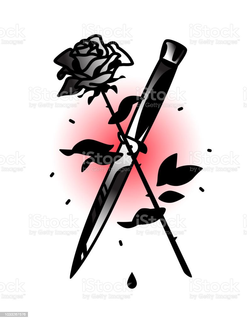 A Tattoo Featuring A Knife And A Rose Tattoo In The Style Of The Old American School Image Is Isolated On White Background Fashionable Hipsters Tattoo Contour Black And White Drawing Stock Tattoo knife set of values , such as betrayal and loneliness , the accuracy of the actions ; a tattoo featuring a knife and a rose tattoo in the style of the old american school image is isolated on white background fashionable hipsters tattoo contour black and white drawing stock