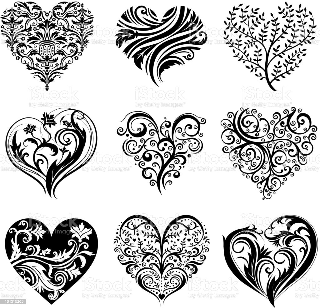 Line Drawing Name Designs : Tatouage coeur cliparts vectoriels et plus d images de