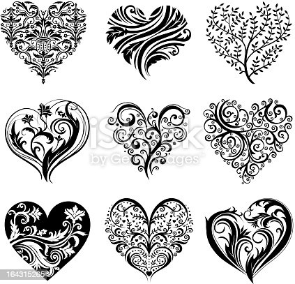tattoo hearts stock vector art more images of abstract 164315265 istock. Black Bedroom Furniture Sets. Home Design Ideas