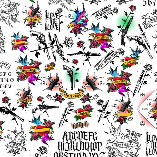 ilustrações, clipart, desenhos animados e ícones de tatuagem, ilustração, arma, faca e rose.  frio e armas de fogo. gothic. o estilo da velha escola americana. coração com uma andorinha e inscrições. padrão, ornamento para a tela. - fontes de tatuagem