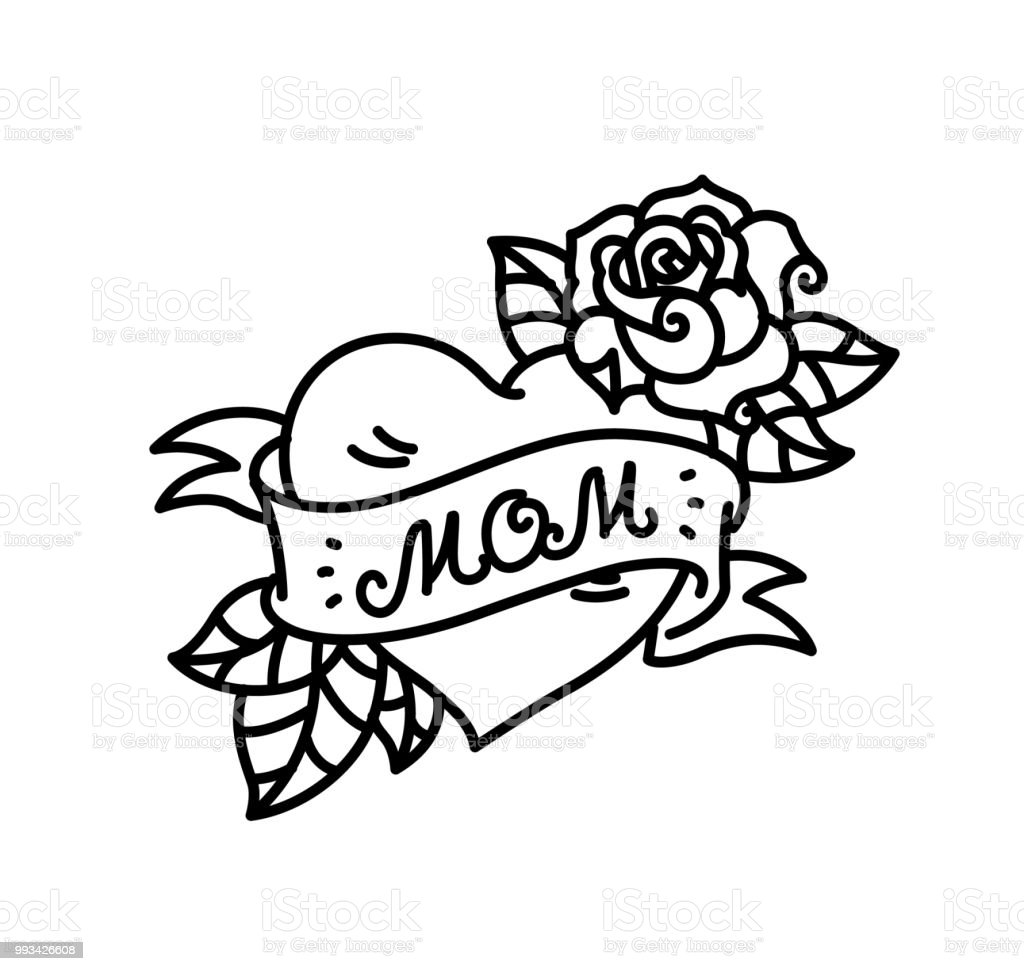 Un Tatouage Avec Linscription De Maman Un Tatouage Cœur Et Fleur