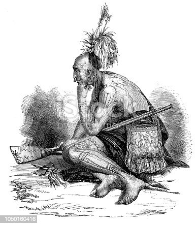 Illustration of a Tattooed Indian chief