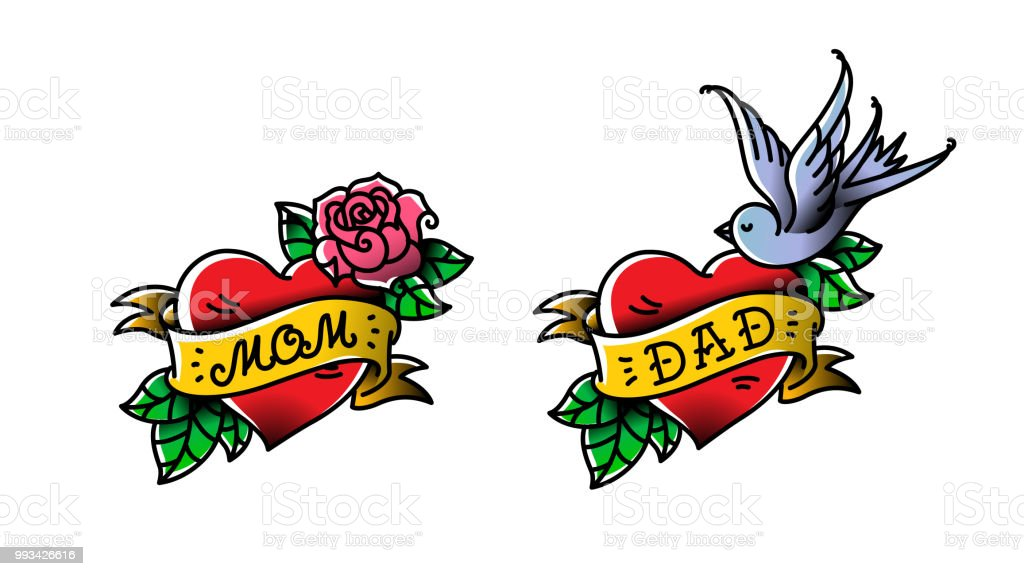 Ilustración De Tatuajes Con La Inscripción De Mamá Y Papá Dos
