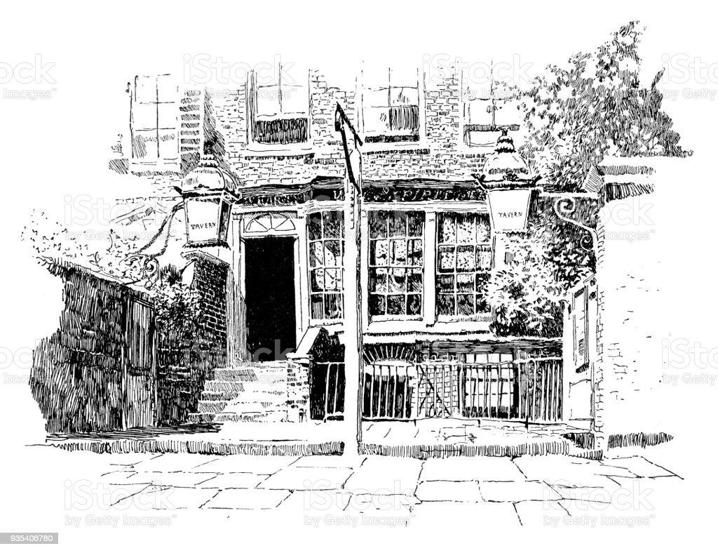 Tavern in Chelsea vector art illustration